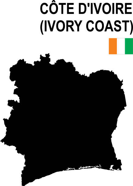 Black basic map of Ivory Coast with flag against white background Black basic map of Ivory Coast with flag against white background The url of the reference to political map is:  http://legacy.lib.utexas.edu/maps/africa/cote_divoire_physio-2004.jpg Layers of data used: flag, map côte d'ivoire stock illustrations