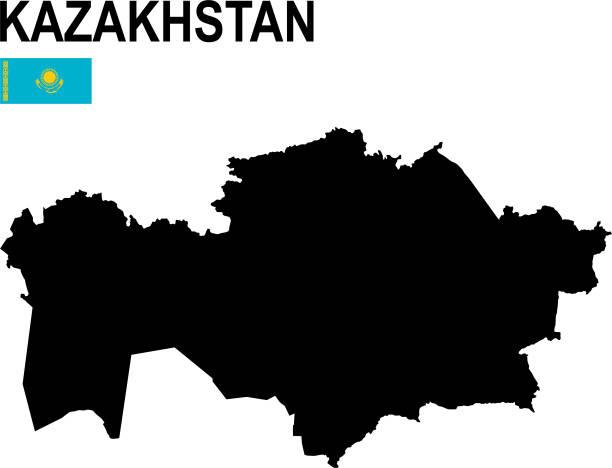 schwarze grundkarte von kasachstan mit flagge vor weißem hintergrund - kasachstan stock-grafiken, -clipart, -cartoons und -symbole