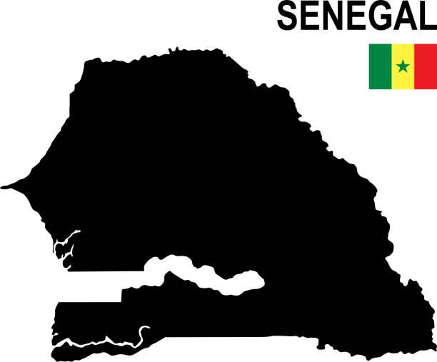 black basic map of senegal with flag against white background - senegal stock illustrations