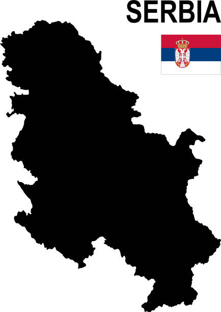 Black basic map of Serbia with flag against white background Black basic map of Serbia with flag against white background The url of the reference to political map is:  http://legacy.lib.utexas.edu/maps/europe/serbia_montenegro_pol_05.jpg Layers of data used: flag, map serbia stock illustrations