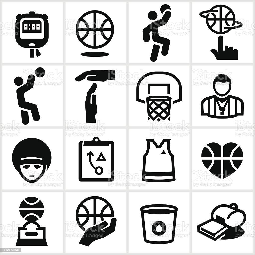 Black Basketball Icons vector art illustration