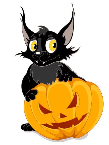 halloween kürbis mit fledermaus und schwarz - megabat stock-grafiken, -clipart, -cartoons und -symbole