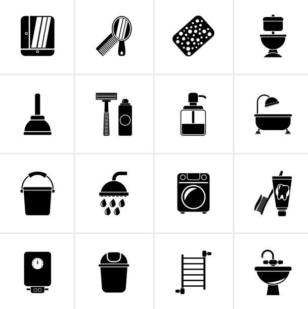 ilustrações de stock, clip art, desenhos animados e ícones de black bathroom and hygiene objects icons - esponja
