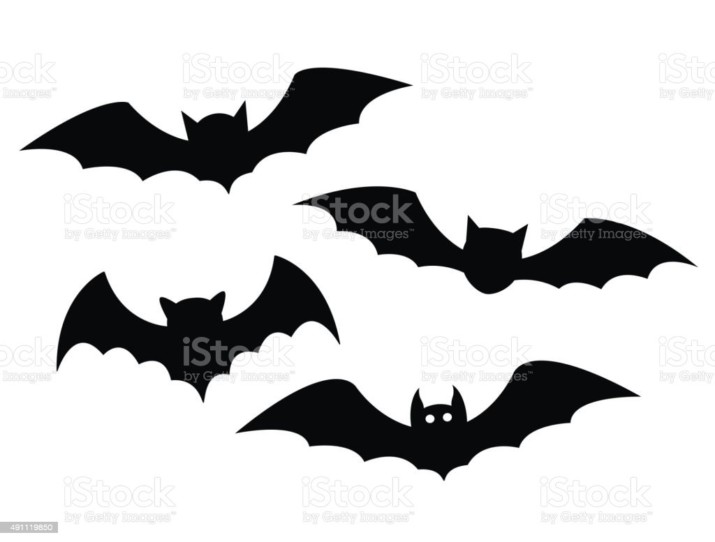 Black bats set on a white background vector art illustration