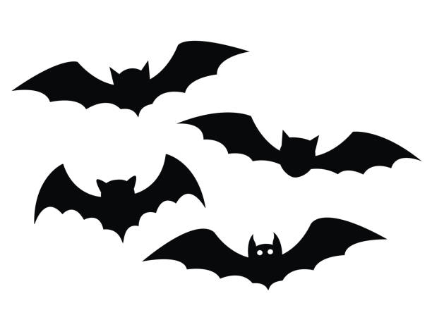 black bats set on a white background - bat stock illustrations, clip art, cartoons, & icons