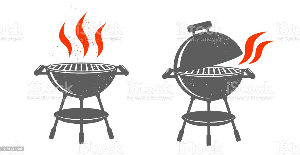 Zwarte BBQ Grill illustraties.​​vectorkunst illustratie