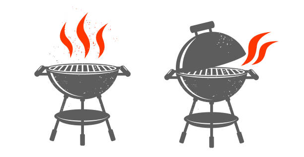 illustrations, cliparts, dessins animés et icônes de illustrations noir barbecue. - barbecue