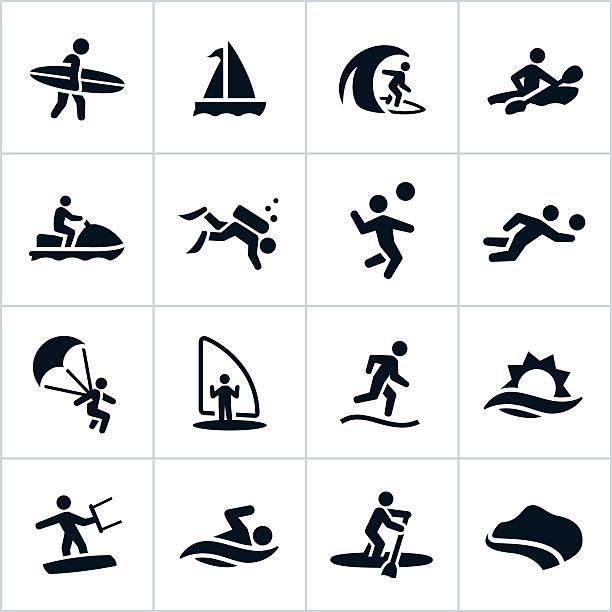 Loisirs icônes de plage noir - Illustration vectorielle