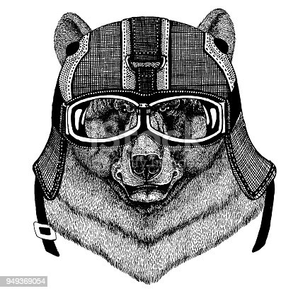 Animal wearing motorycle helmet. Image for kindergarten children clothing, kids. T-shirt, tattoo, emblem, badge, logo patches