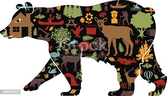istock black bear filled with camping and recreation pattern 538992337