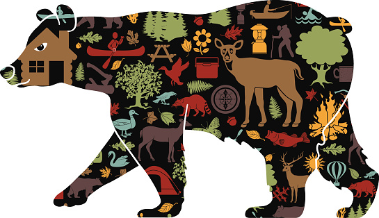 black bear filled with camping and recreation pattern