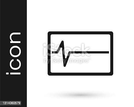 istock Black Beat dead in monitor icon isolated on white background. ECG showing death. Vector 1314060579