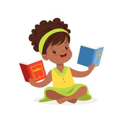 Zwarte Mooi Meisje Zittend Op De Vloer En Het Lezen Van Boeken Kid Genieten Van Lezen Kleurrijke Karakter Vector Illustratie Stockvectorkunst en meer beelden van Afrika