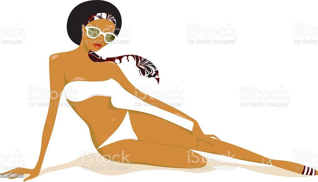 Black beauty in white bikini vector art illustration