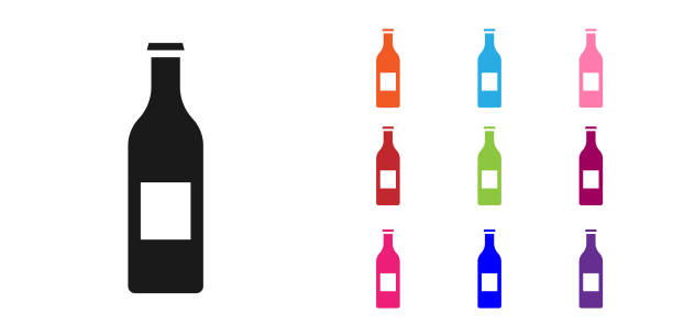 Black Beer bottle icon isolated on white background. Set icons colorful. Vector Illustration Black Beer bottle icon isolated on white background. Set icons colorful. Vector Illustration alcohol drink clipart stock illustrations