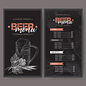 Black beer menu template with beer mug, hop branch, wheat, chips, nuts, chicken wings and snack plate.