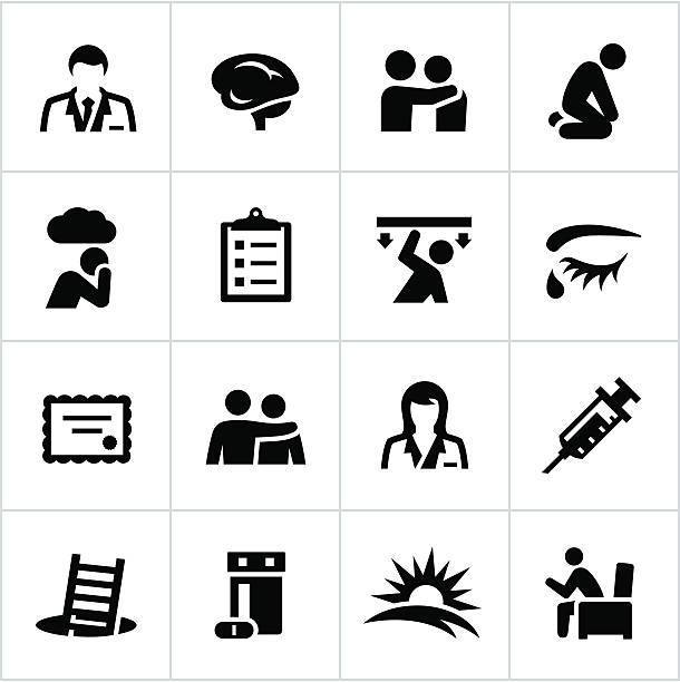 stockillustraties, clipart, cartoons en iconen met black behavioral health icons - psychische aandoening