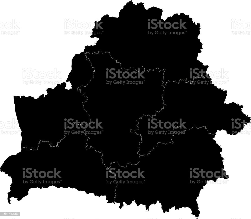 Black Belarus map vector art illustration