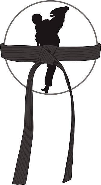 Black belt certification vector art illustration