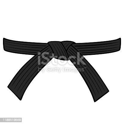 A cartoon illustration of a Karate Black Belt.
