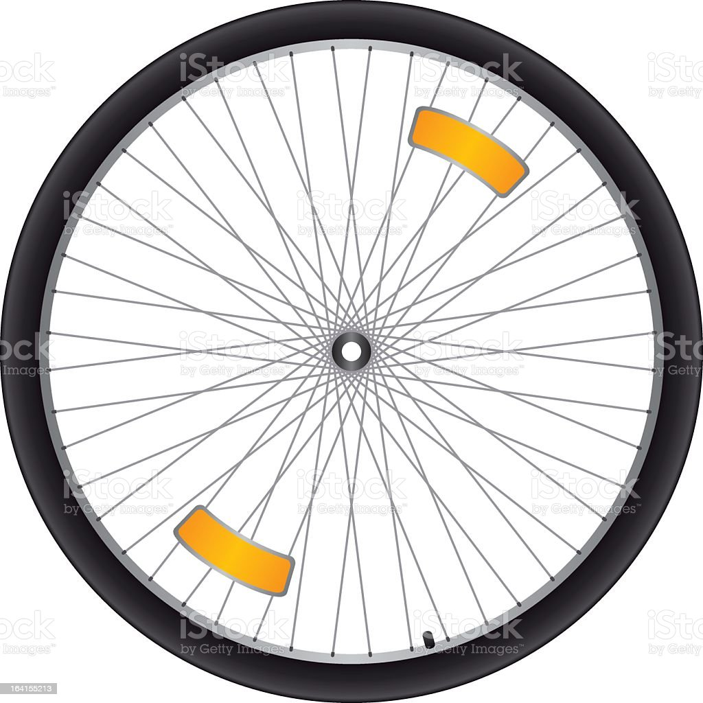 Black bicycle wheel with silver spokes and orange reflectors vector art illustration