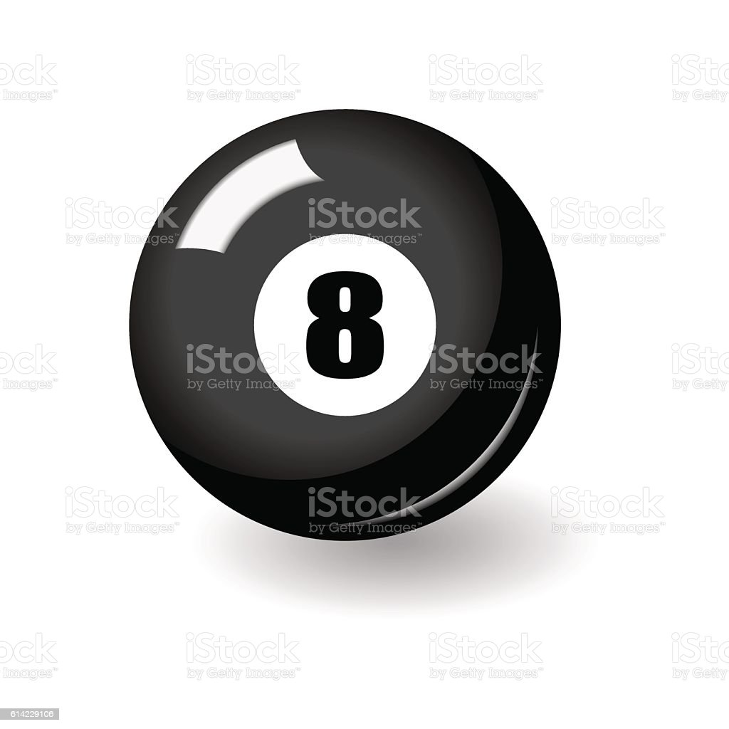 Black billiard ball with number eight vector art illustration