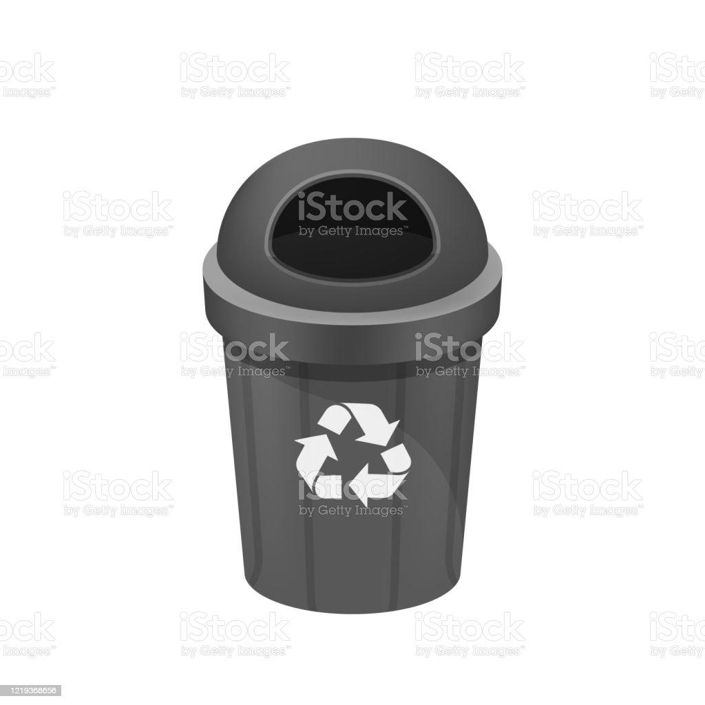 Schwarzer Mülleimer Isoliert Auf Weißem Hintergrund Clipart Von Papierkorb Klein Illustration Grau Mülleimer Kunststoff Flache Ikone Mülleimer Abfall