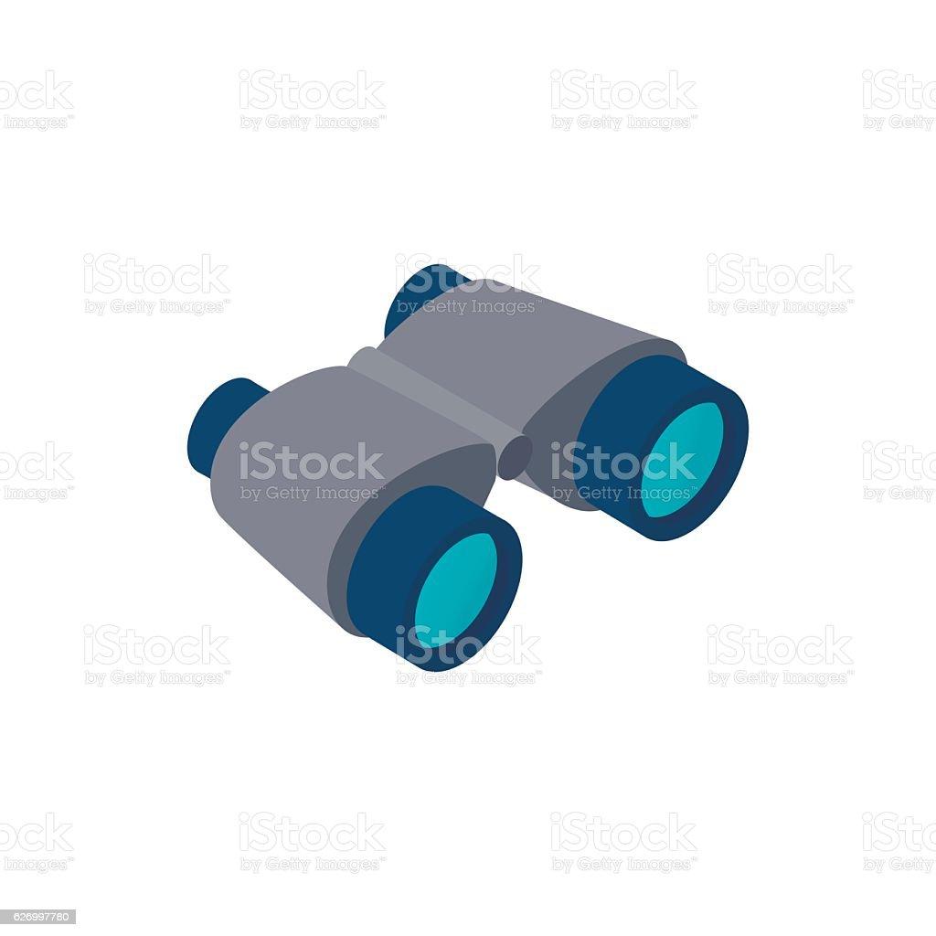 Black binoculars isometric 3d icon vector art illustration