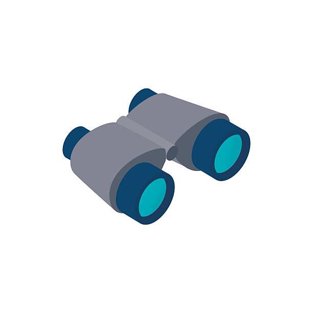Black binoculars isometric 3d icon Black binoculars isometric 3d icon on a white background binoculars stock illustrations