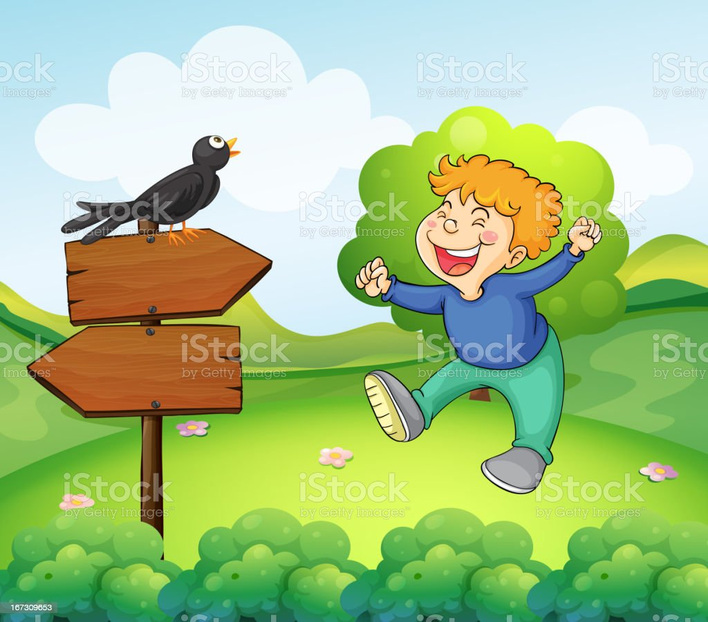 Black bird above the wooden sign near a young boy royalty-free stock vector art