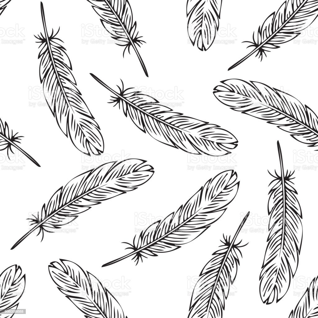 black bird feather seamless pattern coloring page stock