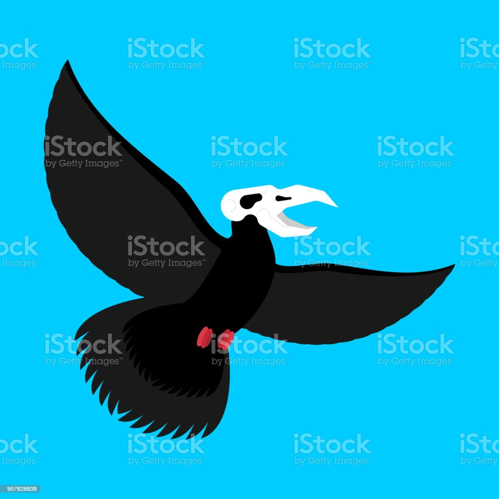 Ilustración de Pájaro Negro Con Calavera Cuervo De La Muerte ...