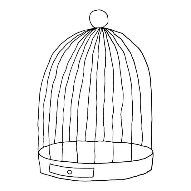 illustrations, cliparts, dessins animés et icônes de cage oiseaux noirs isolée sur fond blanc. esquisse de dessin a été dessiné avec le pinceau et l'encre. - dessin cage a oiseaux