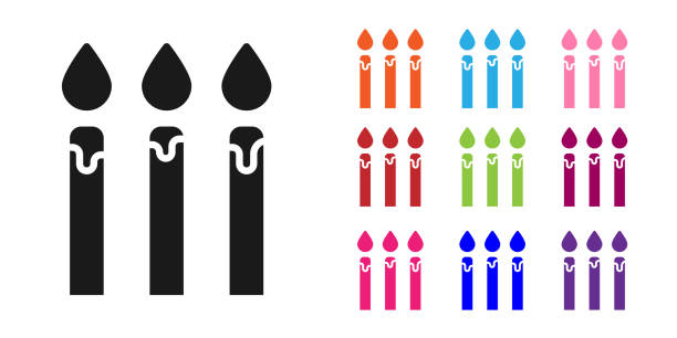 Black Birthday cake candles icon isolated on white background. Set icons colorful. Vector Illustration Black Birthday cake candles icon isolated on white background. Set icons colorful. Vector Illustration anniversary clipart stock illustrations