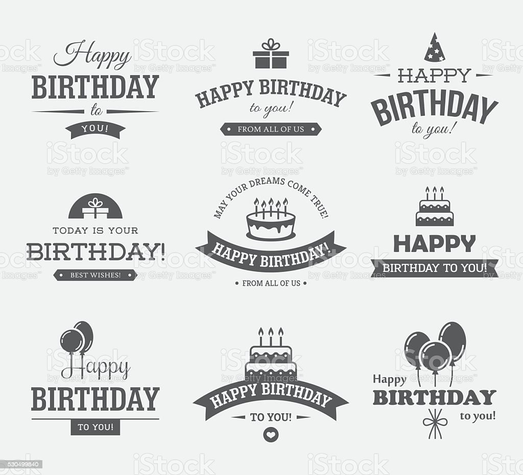 Black Birthday Labels Set vector art illustration