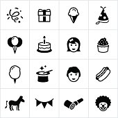 Childhood birthday icons. All white strokes/shapes are cut from the icons and merged allowing the background the show through.