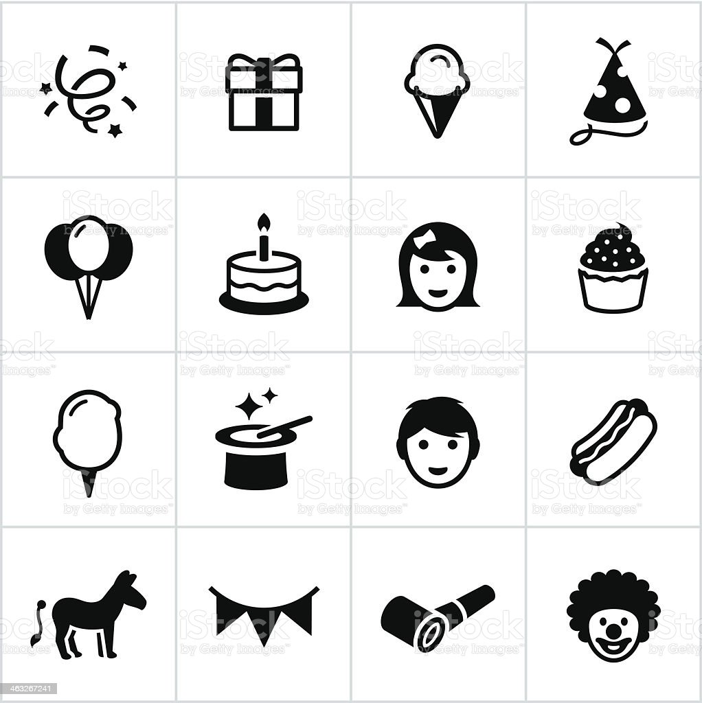 Black Birthday Party Icons vector art illustration
