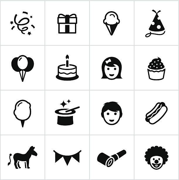 Black Birthday Party Icons vector art illustration