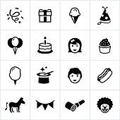 Black Birthday Party Icons