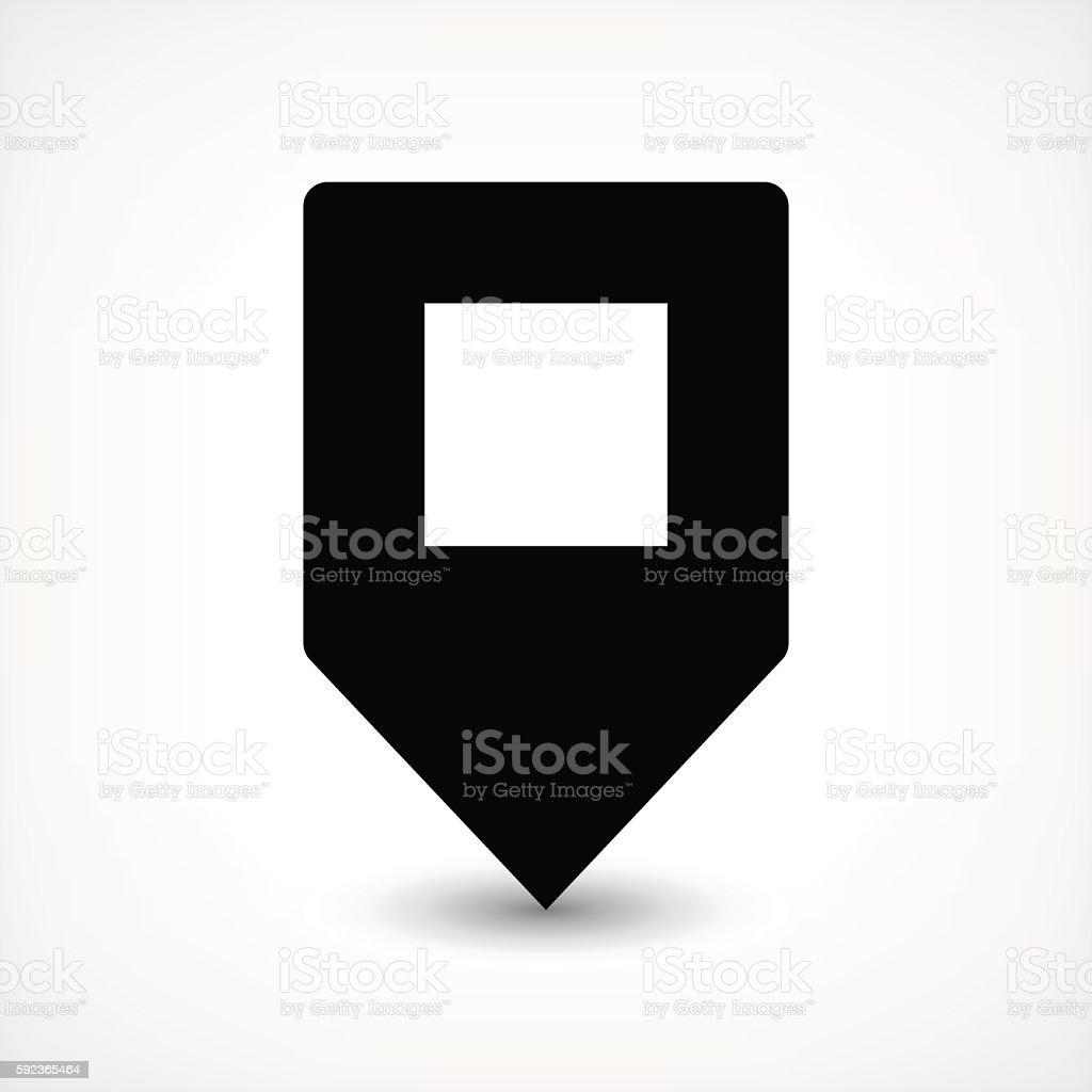 black blank map pin flat location sign square icon からっぽの