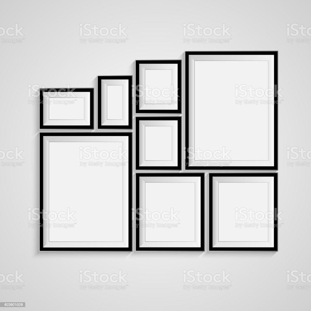 black blank picture frame template poster set vector 3dのベクター