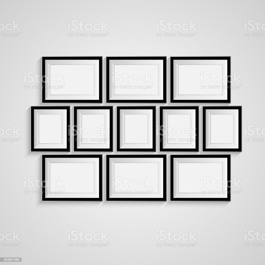 black blank picture frame template poster set vector 3dのベクター