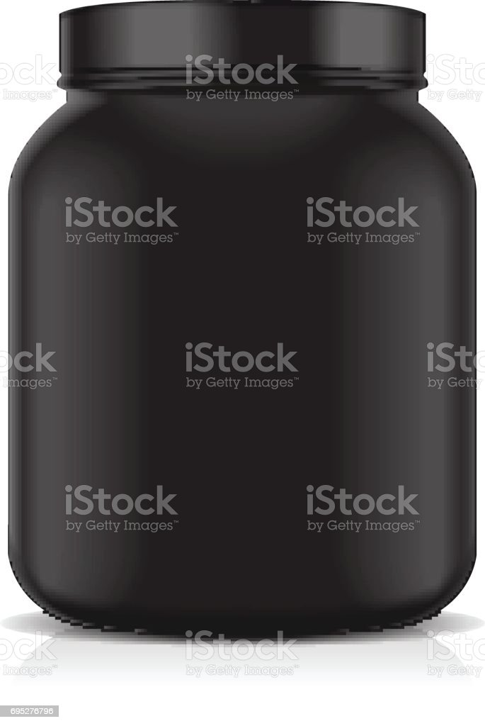Black Blank Plastic Jar isolated on white background. Sport Nutrition, Whey Protein or Gainer vector art illustration