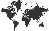 Black blank vector silhouette world map