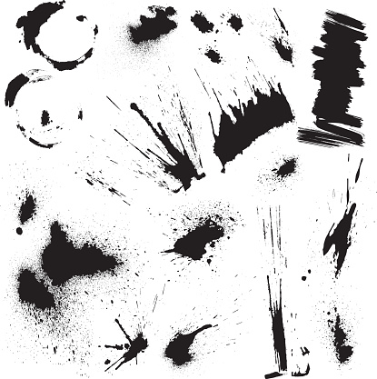 Black blots and ink splashes. Abstract elements in grunge style.
