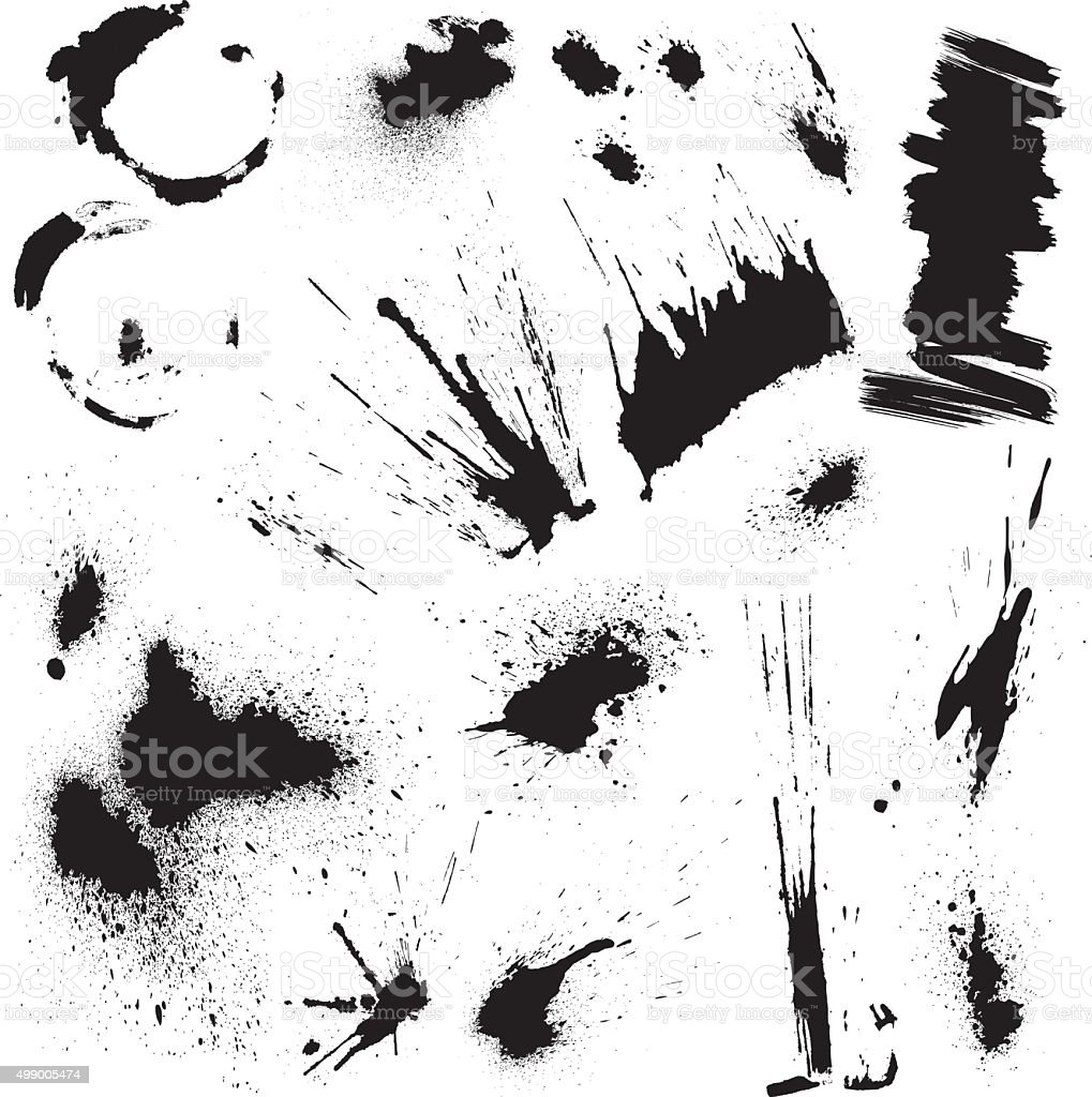 Black blots and ink splashes. Abstract elements in grunge style. vector art illustration