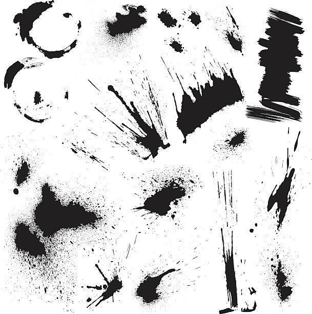 stockillustraties, clipart, cartoons en iconen met black blots and ink splashes. abstract elements in grunge style. - bevlekt