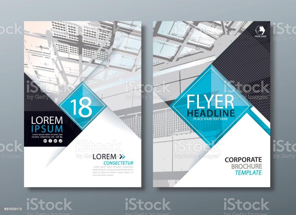 Negro azul anual Informe folleto diseño de flyer, folleto tapa presentación, plantilla de la cubierta del libro. - ilustración de arte vectorial