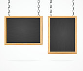 Black Board Sign Hanging on Chains Isolated on White Background. Vector illustration