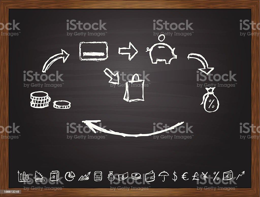 Black board with saving model royalty-free stock vector art